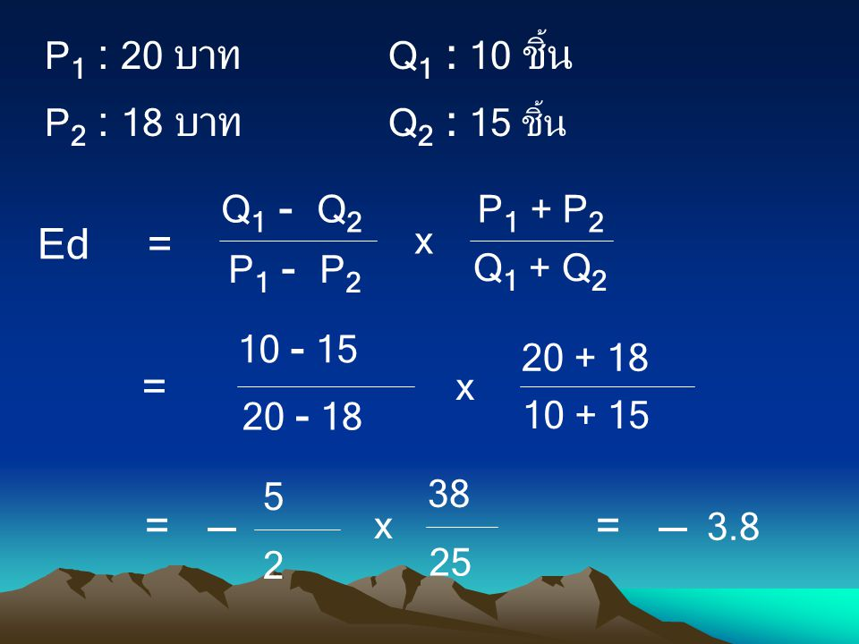Ed = = P1 : 20 บาท Q1 : 10 ชิ้น P2 : 18 บาท Q2 : 15 ชิ้น 10 - 15