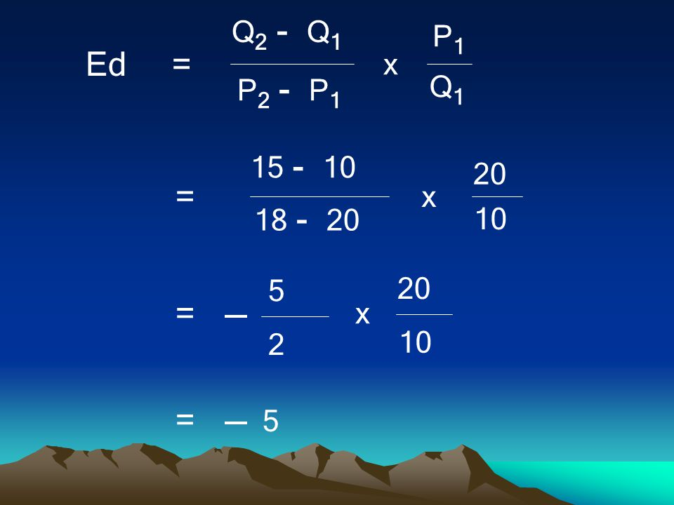 Q2 - Q1 Q1 P2 - P1 P1 x Ed = 15 - 10 10 18 - 20 20 = 5 2