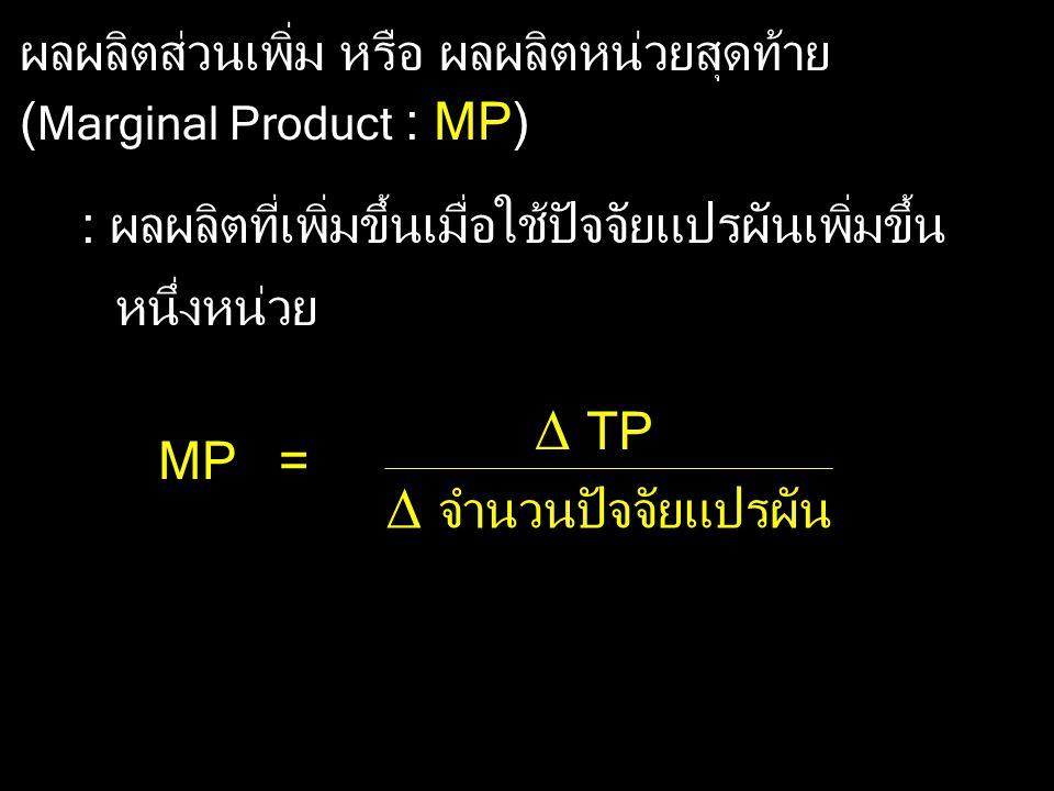  TP  จำนวนปัจจัยแปรผัน