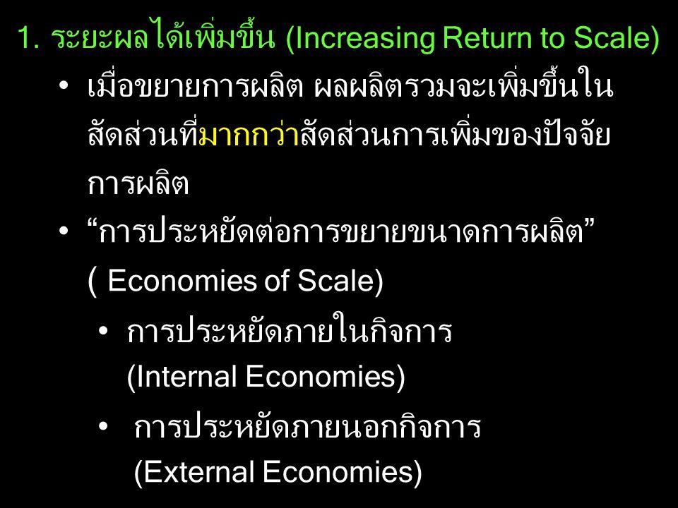 การประหยัดต่อการขยายขนาดการผลิต ( Economies of Scale)