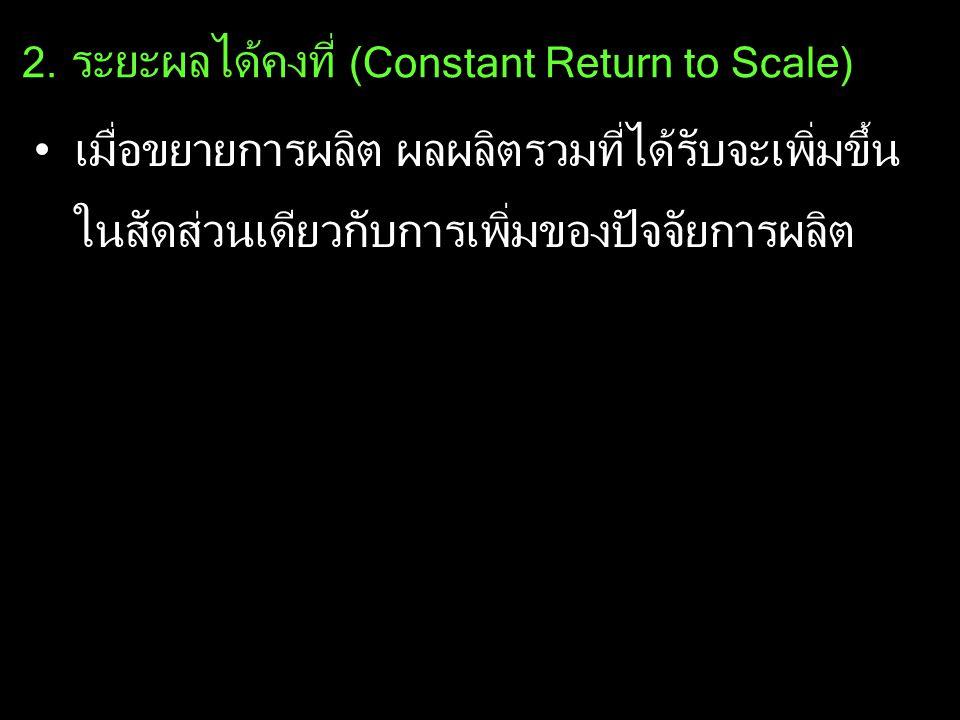 2. ระยะผลได้คงที่ (Constant Return to Scale)