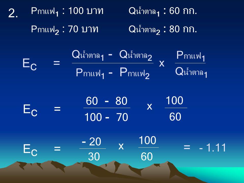 2. EC = - 20 = - 1.11 60 - 80 60 100 - 70 100 x 30 Qน้ำตาล1 - Qน้ำตาล2