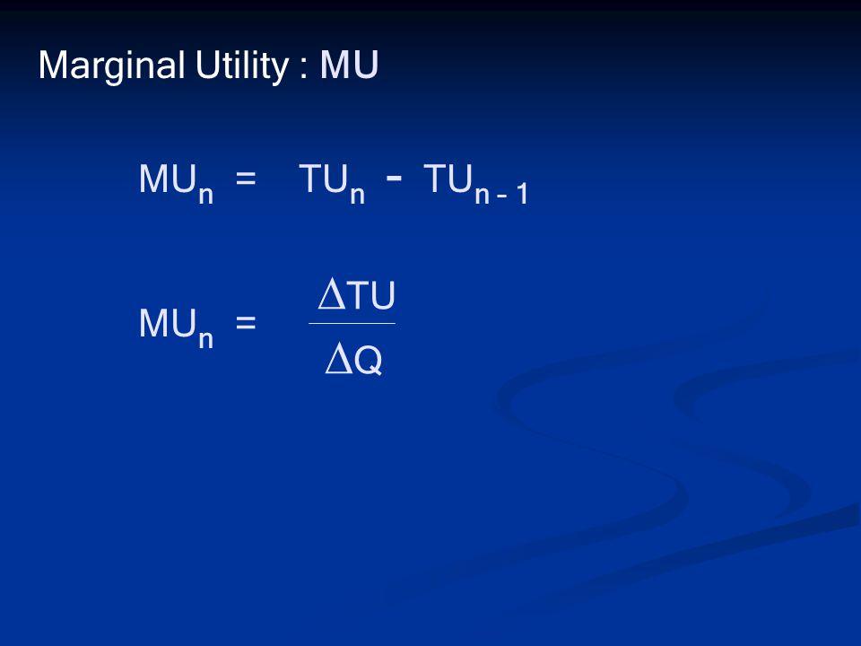 Marginal Utility : MU MUn = TUn - TUn – 1 MUn = TU Q