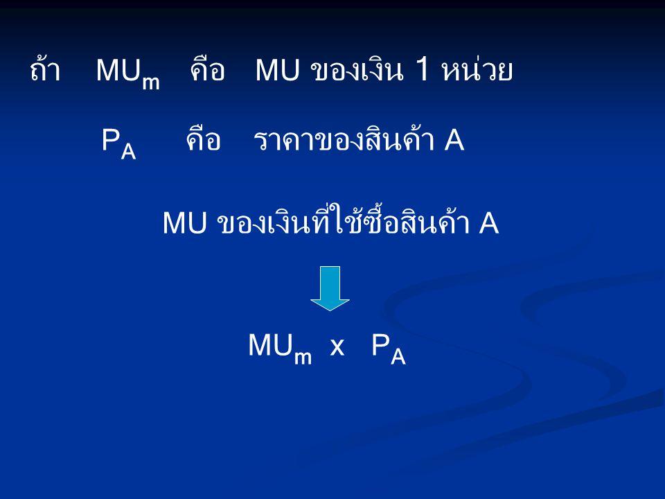 ถ้า MUm คือ MU ของเงิน 1 หน่วย