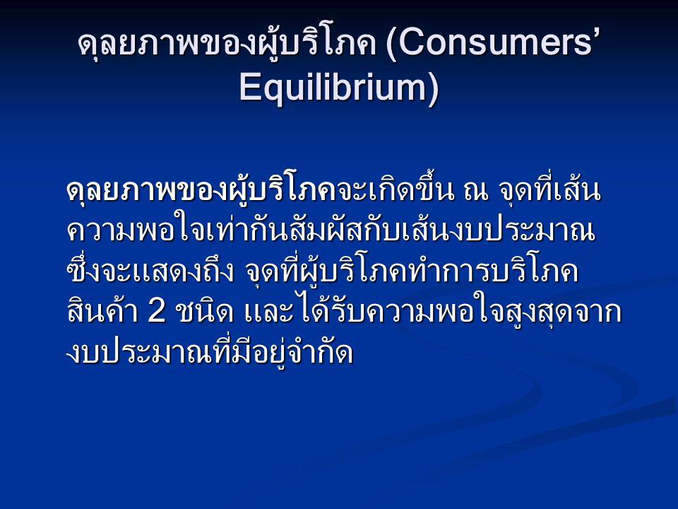 ดุลยภาพของผู้บริโภค (Consumers' Equilibrium)