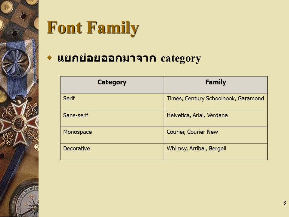 Font Family แยกย่อยออกมาจาก category Category Family Serif