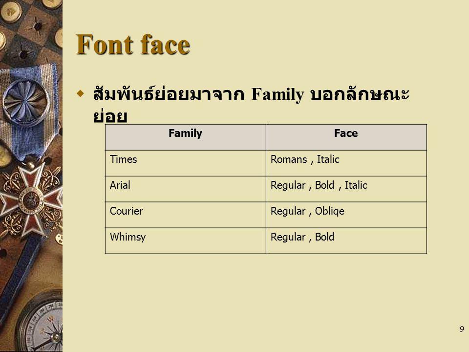 Font face สัมพันธ์ย่อยมาจาก Family บอกลักษณะย่อย Family Face Times