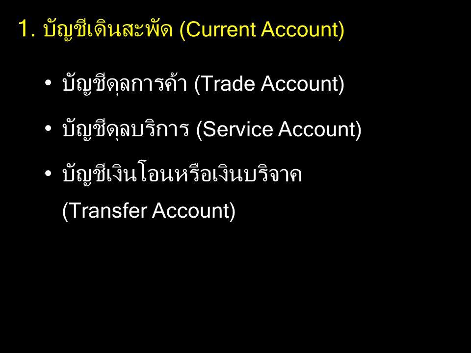 1. บัญชีเดินสะพัด (Current Account)