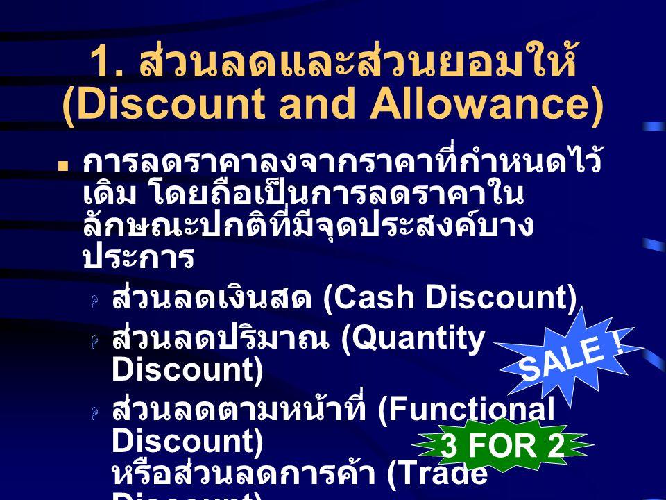 1. ส่วนลดและส่วนยอมให้ (Discount and Allowance)