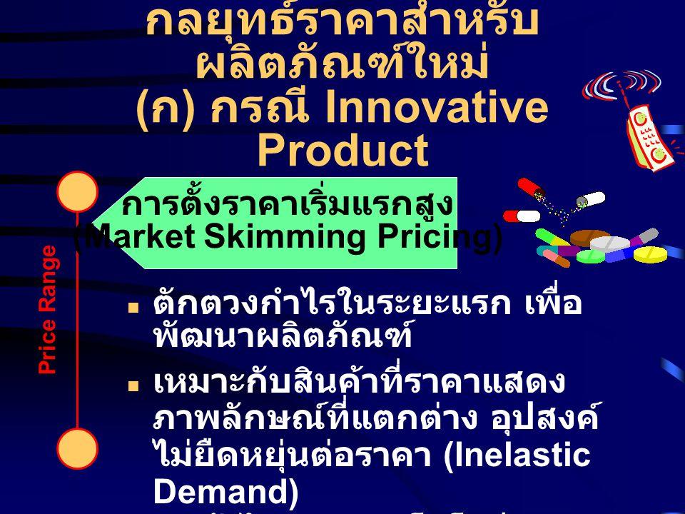 กลยุทธ์ราคาสำหรับผลิตภัณฑ์ใหม่ (ก) กรณี Innovative Product