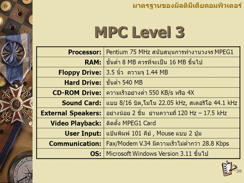 MPC Level 3 มาตรฐานของมัลติมีเดียคอมพิวเตอร์ Processor: RAM: