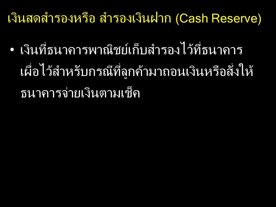 เงินสดสำรองหรือ สำรองเงินฝาก (Cash Reserve)