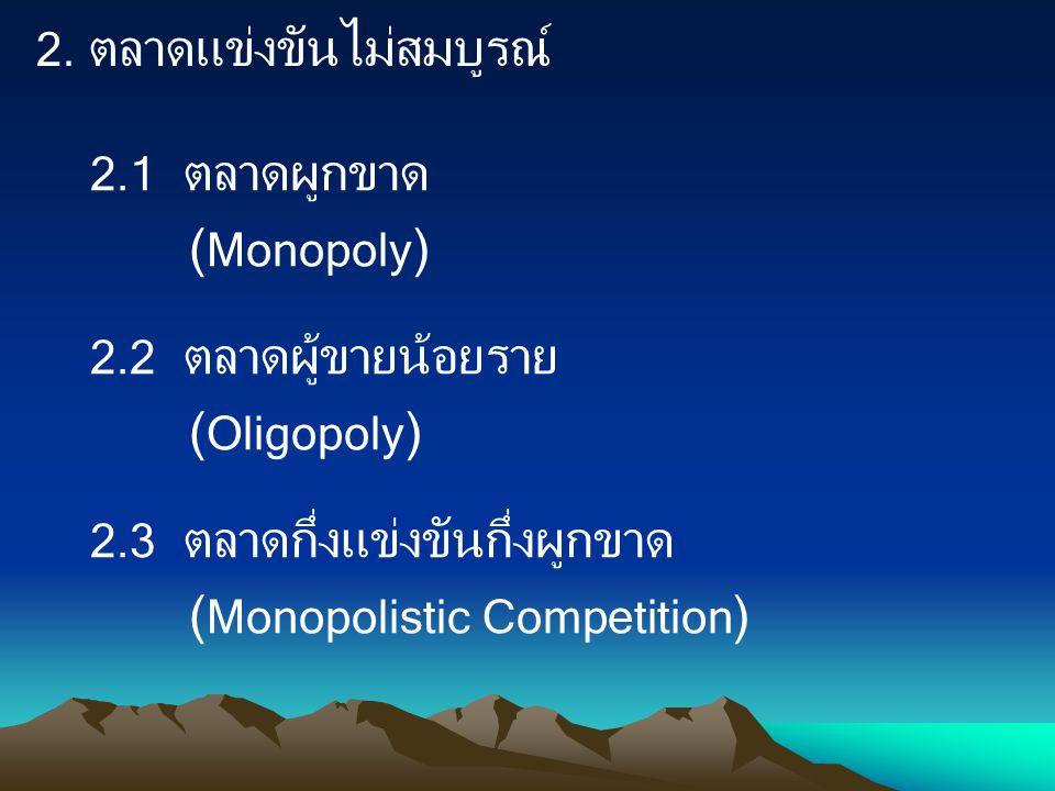 2.1 ตลาดผูกขาด (Monopoly)