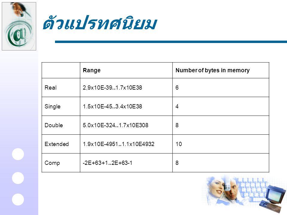 ตัวแปรทศนิยม Range Number of bytes in memory Real