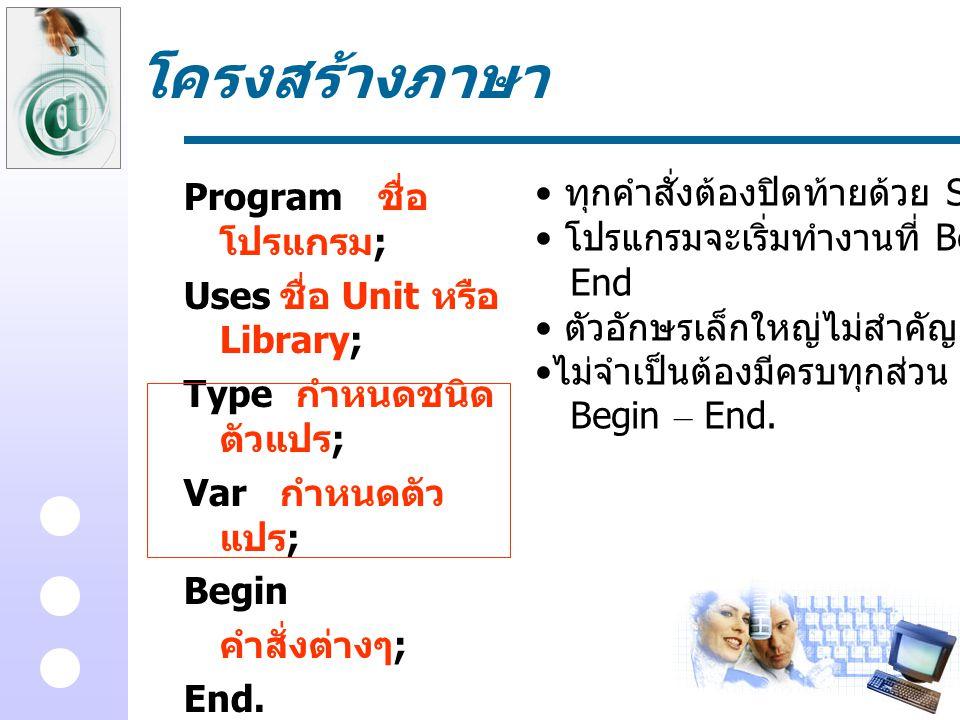 โครงสร้างภาษา ทุกคำสั่งต้องปิดท้ายด้วย Semi Colon Program ชื่อโปรแกรม;
