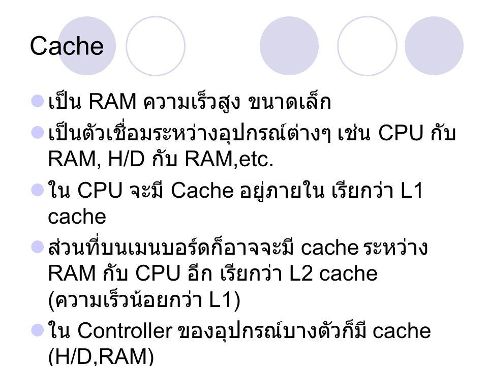 Cache เป็น RAM ความเร็วสูง ขนาดเล็ก