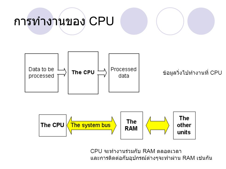 การทำงานของ CPU ข้อมูลวิ่งไปทำงานที่ CPU
