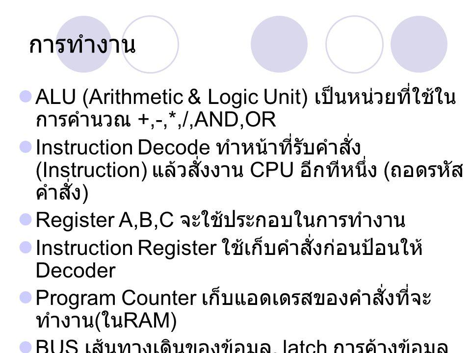 การทำงาน ALU (Arithmetic & Logic Unit) เป็นหน่วยที่ใช้ในการคำนวณ +,-,*,/,AND,OR.