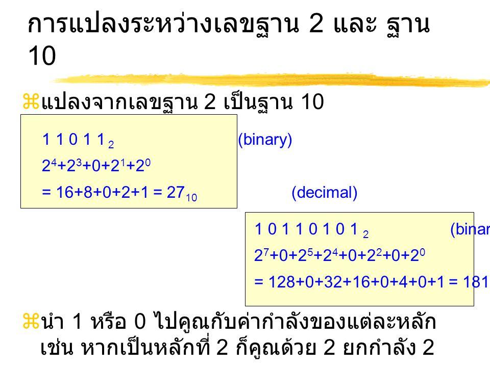 การแปลงระหว่างเลขฐาน 2 และ ฐาน 10