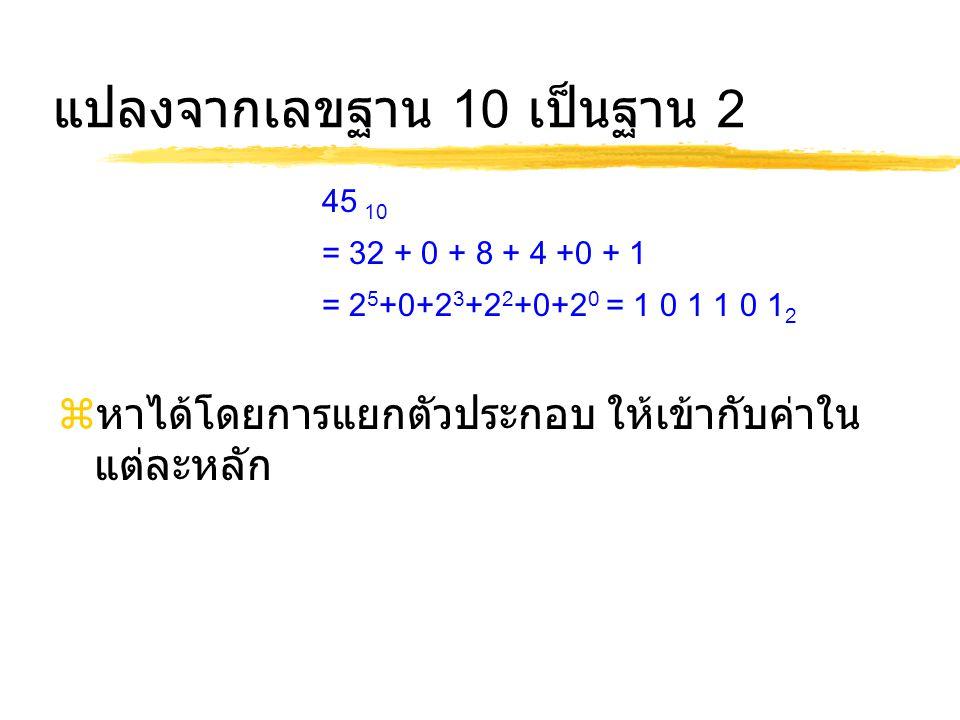 แปลงจากเลขฐาน 10 เป็นฐาน 2
