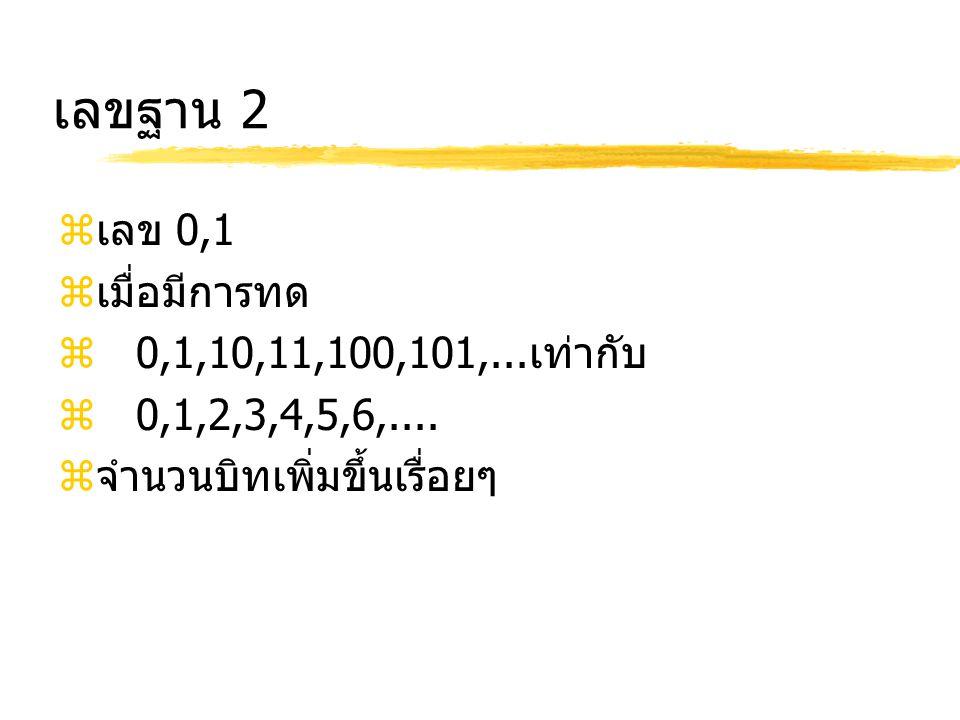 เลขฐาน 2 เลข 0,1 เมื่อมีการทด 0,1,10,11,100,101,...เท่ากับ