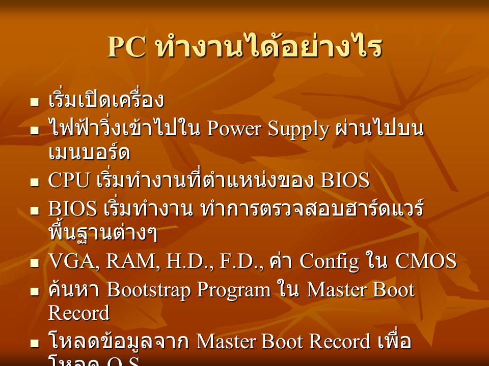 PC ทำงานได้อย่างไร เริ่มเปิดเครื่อง