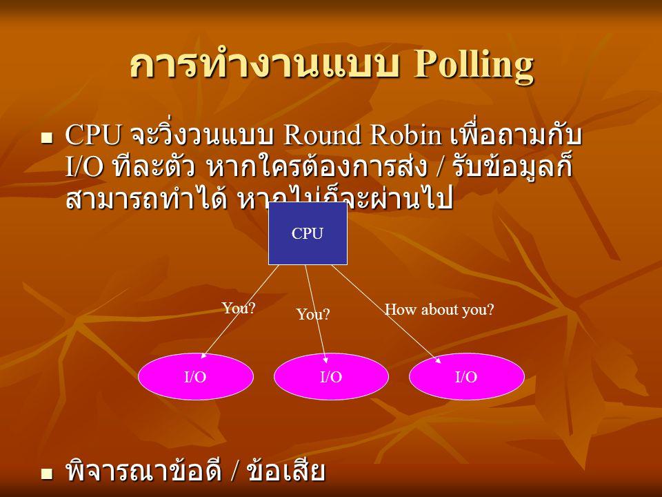 การทำงานแบบ Polling CPU จะวิ่งวนแบบ Round Robin เพื่อถามกับ I/O ทีละตัว หากใครต้องการส่ง / รับข้อมูลก็สามารถทำได้ หากไม่ก็จะผ่านไป.