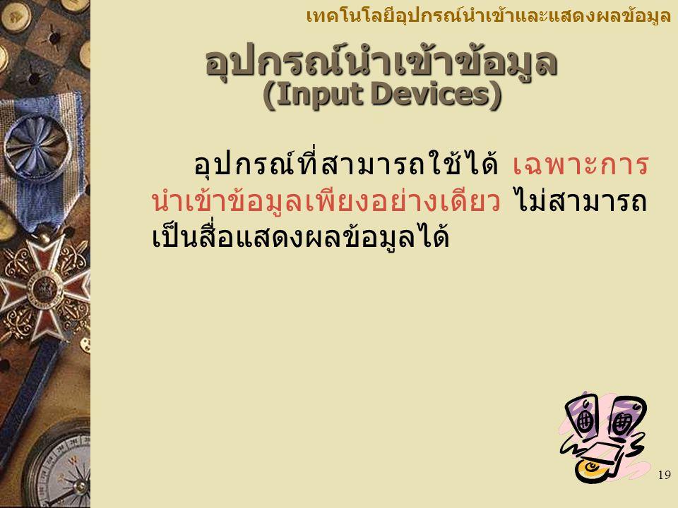 อุปกรณ์นำเข้าข้อมูล (Input Devices)