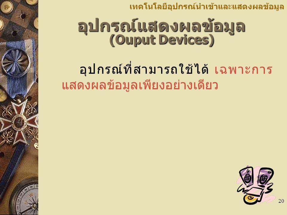 อุปกรณ์แสดงผลข้อมูล (Ouput Devices)