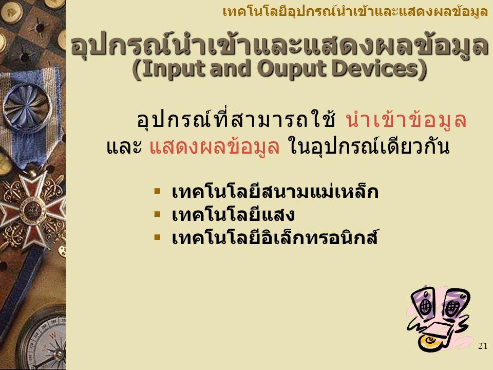 อุปกรณ์นำเข้าและแสดงผลข้อมูล (Input and Ouput Devices)