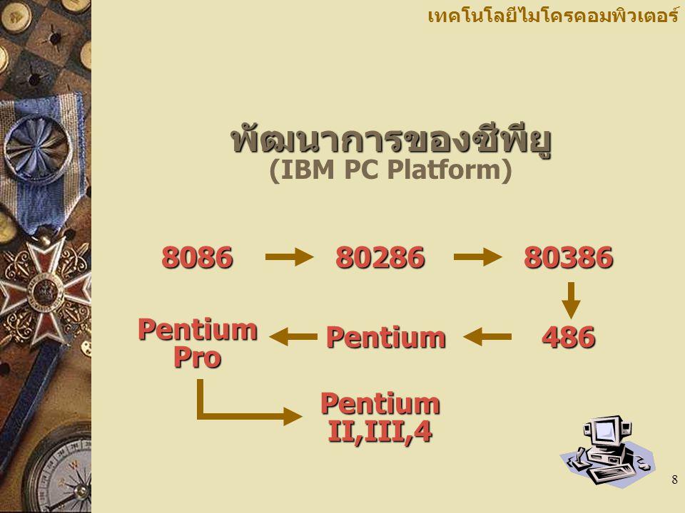 พัฒนาการของซีพียู (IBM PC Platform)