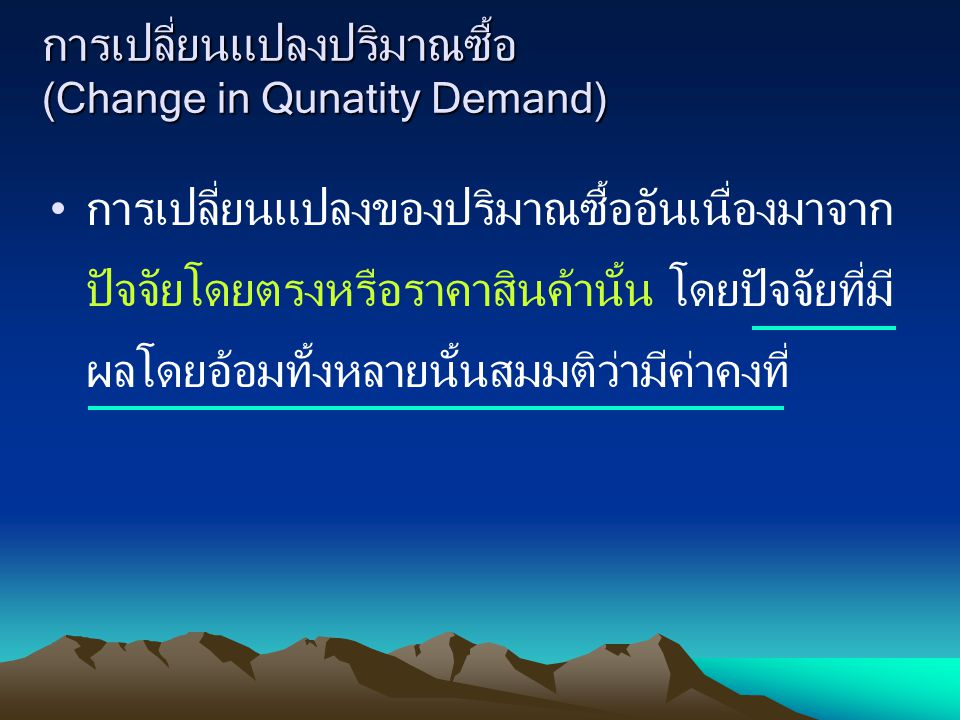 การเปลี่ยนแปลงปริมาณซื้อ (Change in Qunatity Demand)