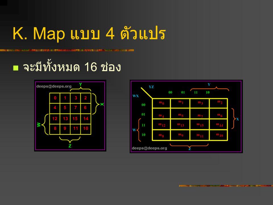 K. Map แบบ 4 ตัวแปร จะมีทั้งหมด 16 ช่อง.