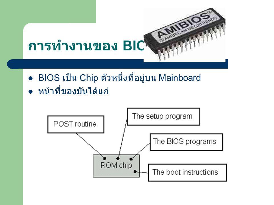 การทำงานของ BIOS BIOS เป็น Chip ตัวหนึ่งที่อยู่บน Mainboard