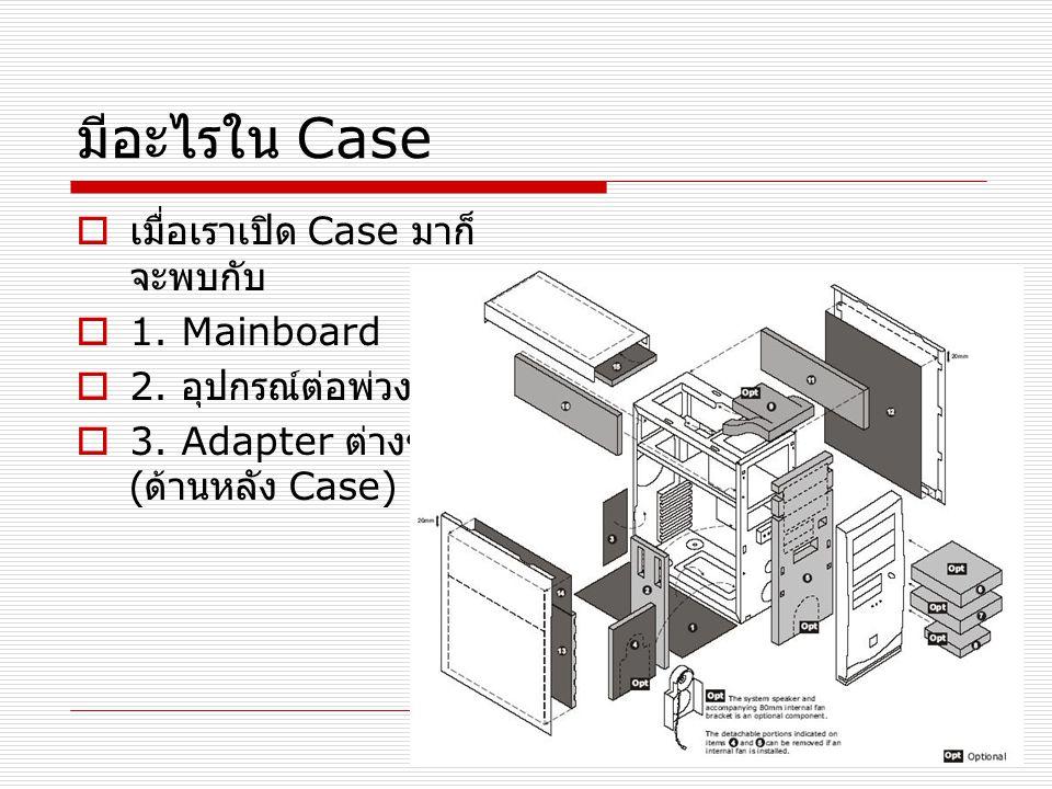 มีอะไรใน Case เมื่อเราเปิด Case มาก็จะพบกับ 1. Mainboard
