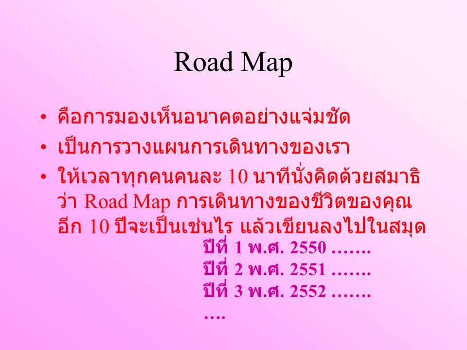 Road Map คือการมองเห็นอนาคตอย่างแจ่มชัด เป็นการวางแผนการเดินทางของเรา