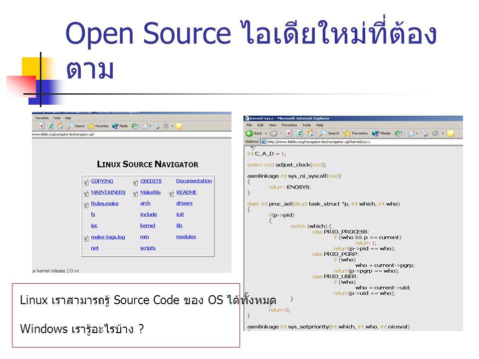 Open Source ไอเดียใหม่ที่ต้องตาม