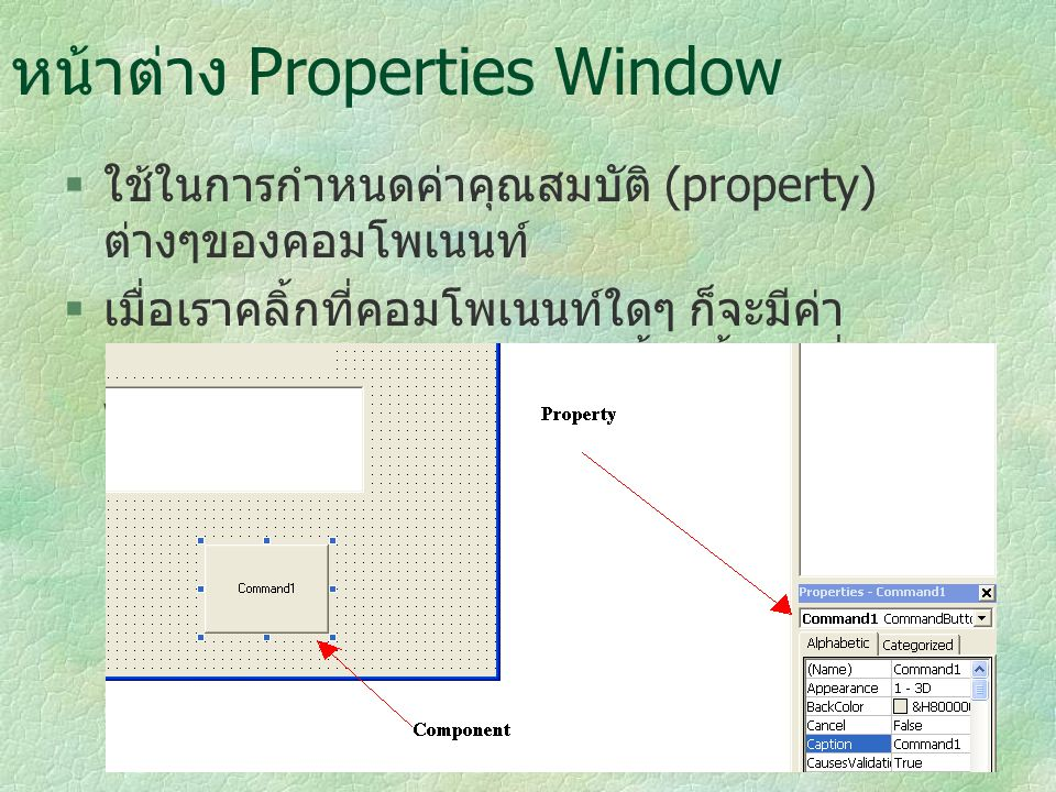 หน้าต่าง Properties Window