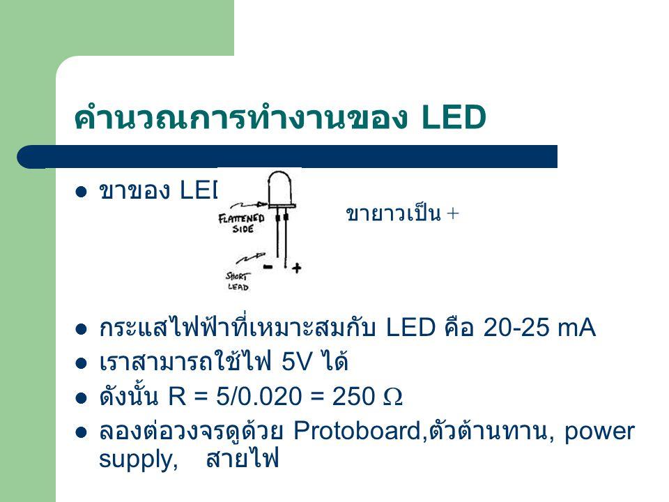 คำนวณการทำงานของ LED ขาของ LED