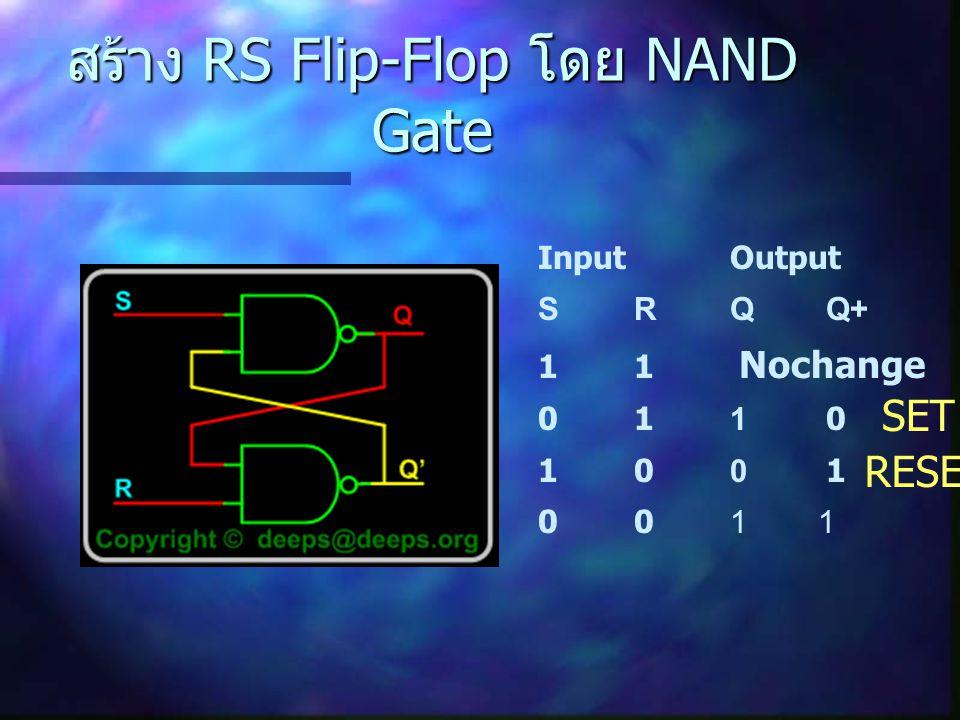 สร้าง RS Flip-Flop โดย NAND Gate
