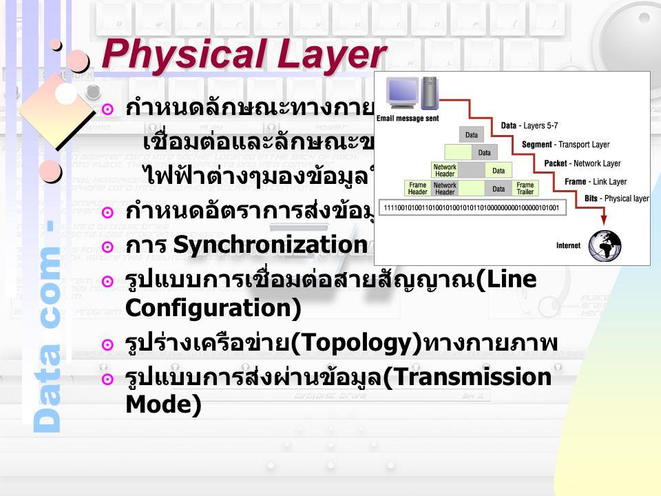 Physical Layer กำหนดลักษณะทางกายภาพของการ