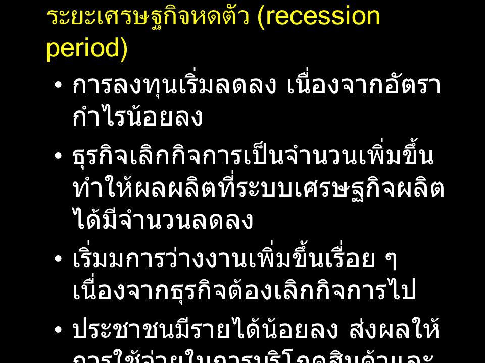 ระยะเศรษฐกิจหดตัว (recession period)