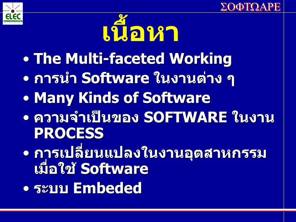 เนื้อหา The Multi-faceted Working การนำ Software ในงานต่าง ๆ
