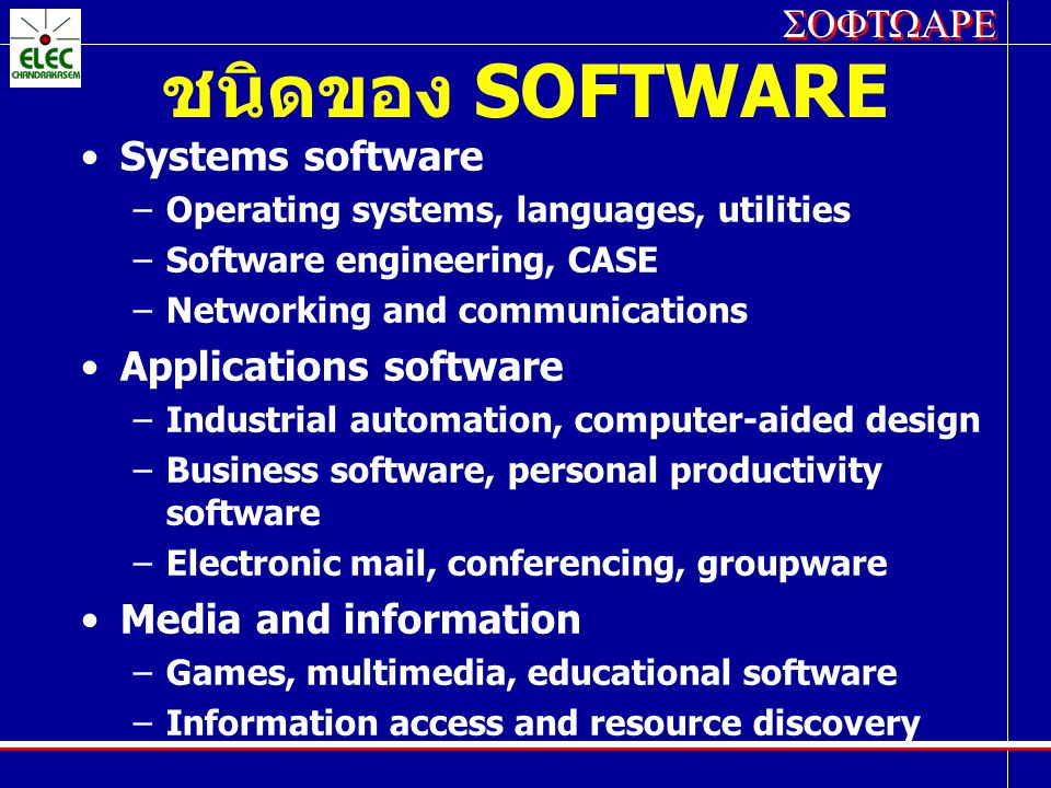 ชนิดของ SOFTWARE Systems software Applications software