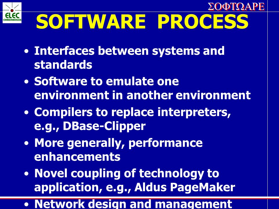 SOFTWARE PROCESS Interfaces between systems and standards