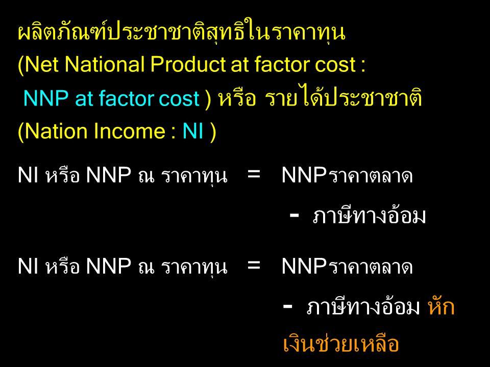 ผลิตภัณฑ์ประชาชาติสุทธิในราคาทุน (Net National Product at factor cost : NNP at factor cost ) หรือ รายได้ประชาชาติ (Nation Income : NI )