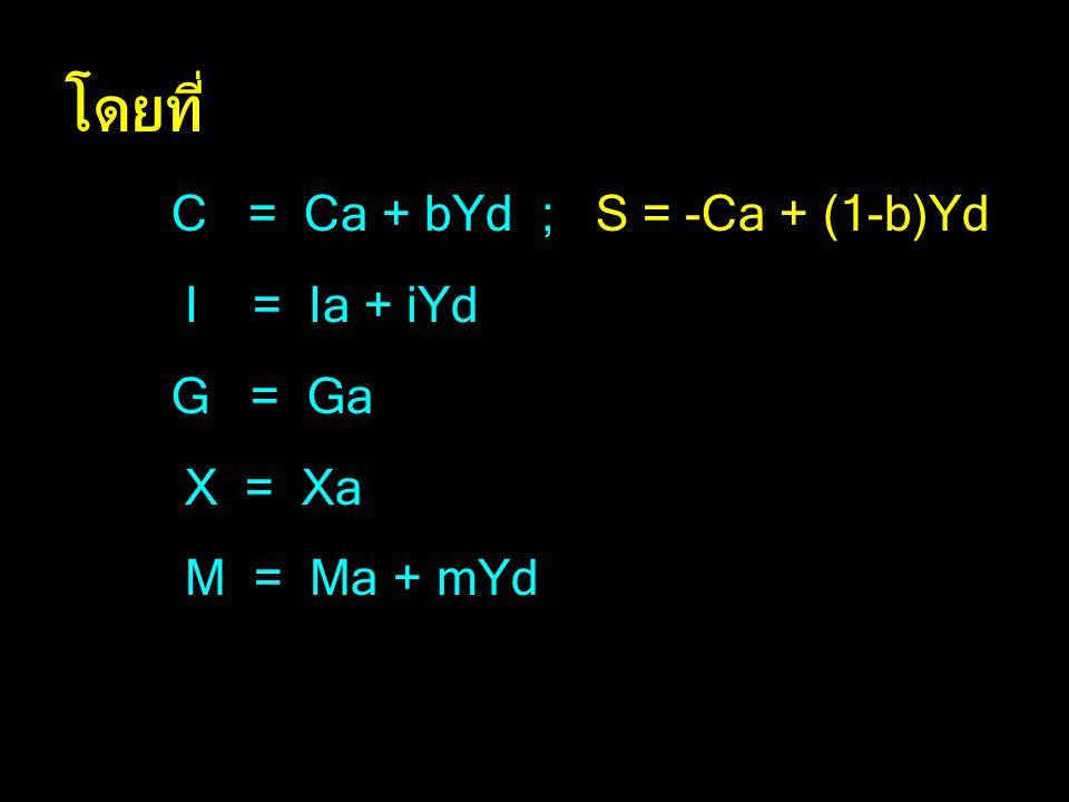 โดยที่ C = Ca + bYd ; S = -Ca + (1-b)Yd I = Ia + iYd G = Ga X = Xa