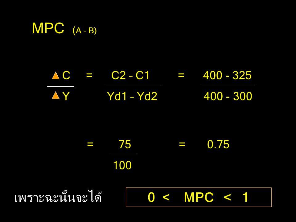 MPC (A - B) เพราะฉะนั้นจะได้ 0 < MPC < 1 C = C2 – C1 = 400 - 325