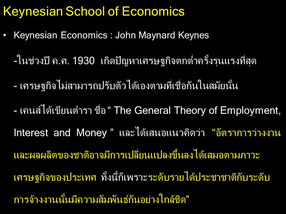 Keynesian School of Economics