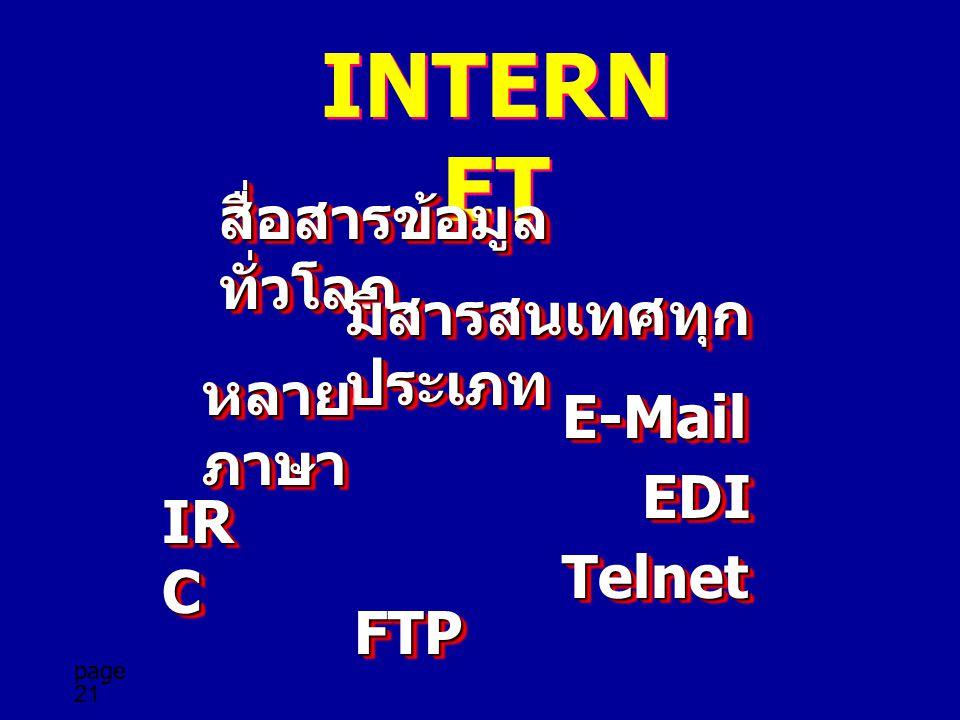 INTERNET สื่อสารข้อมูลทั่วโลก มีสารสนเทศทุกประเภท หลายภาษา E-Mail EDI